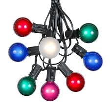 black colored christmas lights 100 multi colored g40 globe round outdoor string light set on black