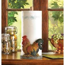 wholesale country style rooster paper towel holder stand wooden dowel