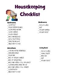 8 best images of housekeeping cleaning checklist printable