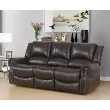 Faux Leather Living Room Set Abbyson Bradford Reclining Brown 3 Faux Leather Living Room