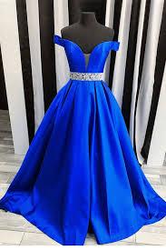 royal blue royal blue satin strapless shoulder senior prom dress