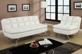 amazon com 2 pc cream faux leather upholstered futon sofa bed and