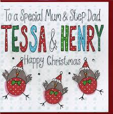 personalised mum and step dad christmas card by claire sowden