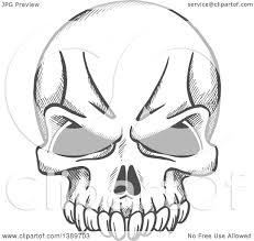 clipart of a gray sketched human skull royalty free vector