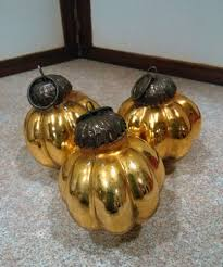 antique glass ornaments mercury kugel german ribbed gold set of 3