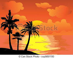 palm trees island at sunset vector clipart search illustration