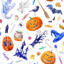 halloween background child seamless pattern with pumpkin jack o u0027 lantern lollipop castle bat