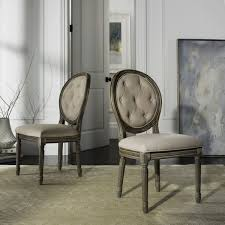 Tufted Dining Chair Set Safavieh Holloway Rustic Oak Tufted Oval Dining Chair Set Of 2
