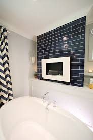 nautical navy bathroom handmade tiles mercury mosaics