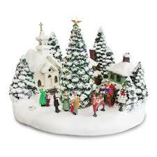 thomas kinkade lighted musical christmas village collectible
