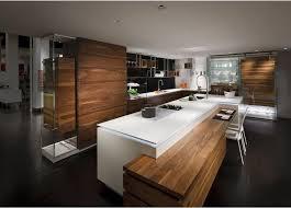 cuisine marron glacé cuisine design blanche et bois avec îlot cuisine
