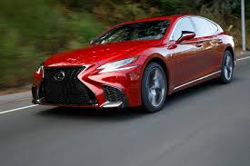 red lexus 2018 2018 lexus ls 500 f sport front three quarter in motion 03 motor