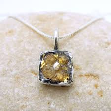 silver gold diamond necklace images Raw diamond necklace pendant square pendant 24k yellow gold in JPG