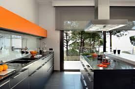 Orange And White Kitchen Ideas Orange Accents Kitchen Design With Glossy Black Cabinets