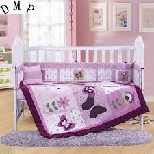 Purple Crib Bedding Set 7pcs Embroidery Purple Crib Bed Linen Baby Bedding Set Baby Cot