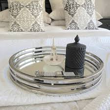 silver coffee table tray round silver mirror tray xlarge humble home