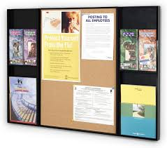 information display with pinnable cork board u0026 pamphlet pockets