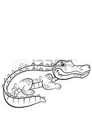 childrens cartoon family of crocodiles in africa coloring book