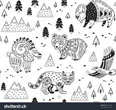 outline seamless pattern mountain animals ethnic stock vector