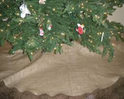 60 natural burlap christmas tree skirt with red and