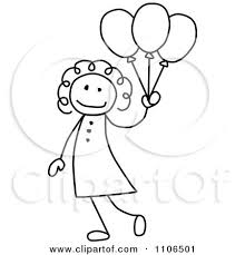clipart black and white stick drawing of a happy with party