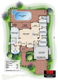south florida designs tropical one story great room house plan