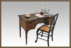 antique leather u0026 inlaid writing table desk bureau 114853