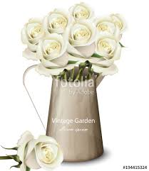 vintage bouquet white roses vintage bouquet vector realistic flowers bouquet in a
