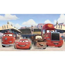 roommates 72 in x 126 in disney cars friends to the finish xl disney cars friends to the finish xl chair rail pre pasted wall mural jl1303m the home depot