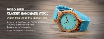 amazon com bobo bird men u0027s bamboo wooden watch with blue cowhide