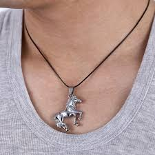 steel necklace jewelry images Stainless steel new cool silver horse unisex pendant leather jpg