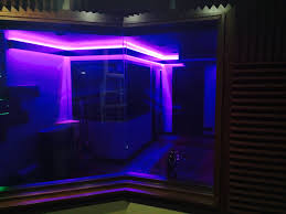 led tape lighting around studio live room aster recording studio