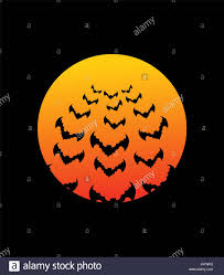 bats and bloodmoon terrible night sky illustration for halloween