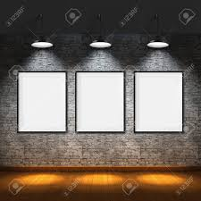 art gallery blank picture frames on brick wall background stock