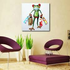 oil painting modern art happy frog shopping hand painted on canvas