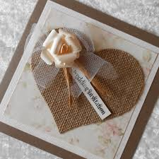 rustic wedding invitations with burlap hessian heart and tulle