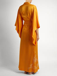 robe de chambre en soie femme carine gilson robe de chambre en satin soie à dentelle femme orange