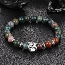 bracelet natural stones images Leopard charm natural stone beads bracelet ancient explorers jpg
