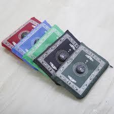 Islamic Prayer Rugs Wholesale Portable Islamic Travel Pocket Prayer Mat With Compass 1000mm