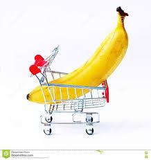 Tiny Banana Giant Banana In Tiny Shopping Cart Stock Photo Image 46087089