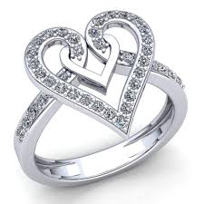 promise engagement rings images Real 2carat round cut diamond ladies heart promise engagement ring jpg
