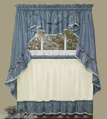 Ruffled Kitchen Curtains New Sturbridge Blue Ruffled Kitchen Curtains By Cambridge