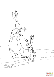 little nutbrown hare and big nutbrown hare coloring page free