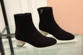 womens boots low heel strass square heeled black suede ankle boots low