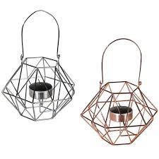amazon com geometric copper and silver tea light holders home