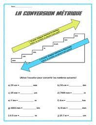 la conversion métrique french worksheet convert mm cm dm m
