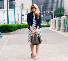 summer wind wear to work navy and white striped dress with navy