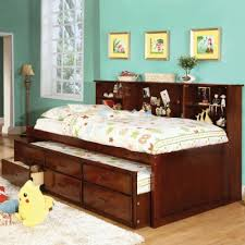 Bunk Beds With Bookcase Headboards Furniture Of America Percius Cherry Captain Bed With Trundle And
