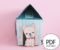 house gift frenchie dog house gift box printable pdf download