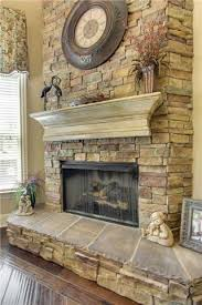 Stacked Stone Around Fireplace by Stack Stone Fireplace With A Distressed Mantle If You Love My Pins